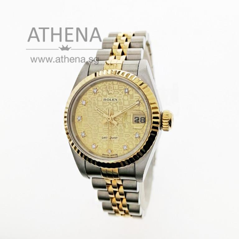 """ROLEX """"HALF-GOLD"""" OYSTER PERPETUAL LADIES DATEJUST """"W"""" SERIES """"GOLD COMPUTER DIAMOND DIAL"""" 69173 WLWRL_1151"""
