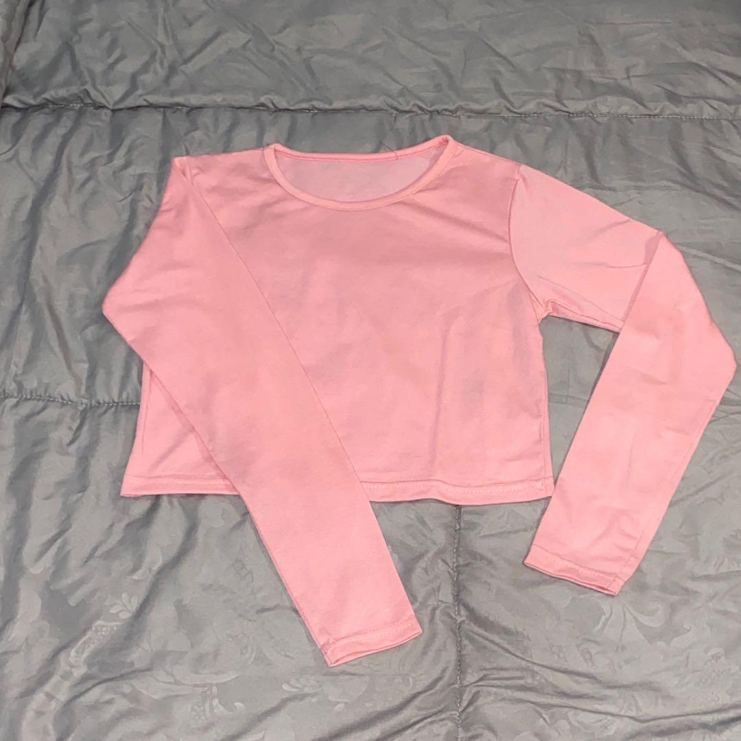 Atasan lengan panjang crop pink