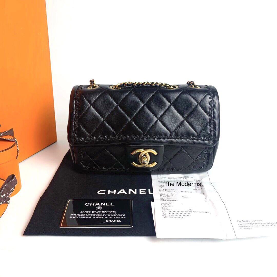 Authentic Chanel Black Calf Leather Mini Seasonal Flap