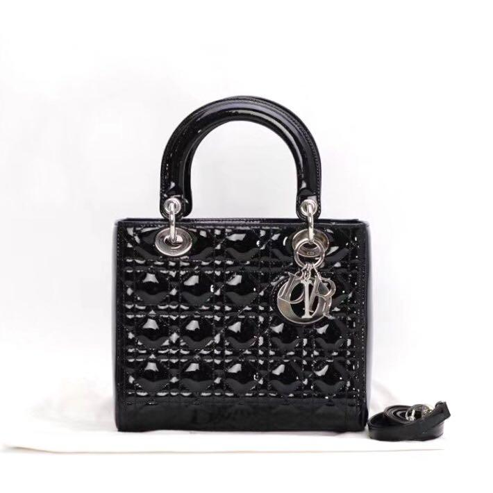 Authentic Christian Dior Medium Lady Dior Black Patent Leather Silver Hardware