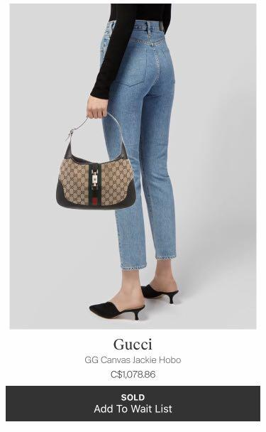 Authentic Gucci Jackie Canvas Hobo Handbag