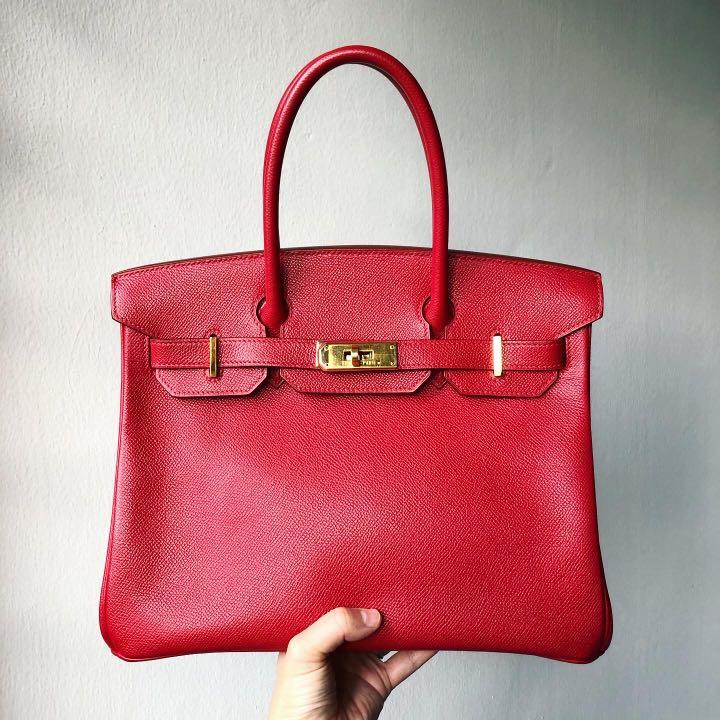 Authentic Hermes Birkin 30 in *Exclusive, Highly Coveted* Rouge Vif Colour, Epsom Leather w Gold Hardware
