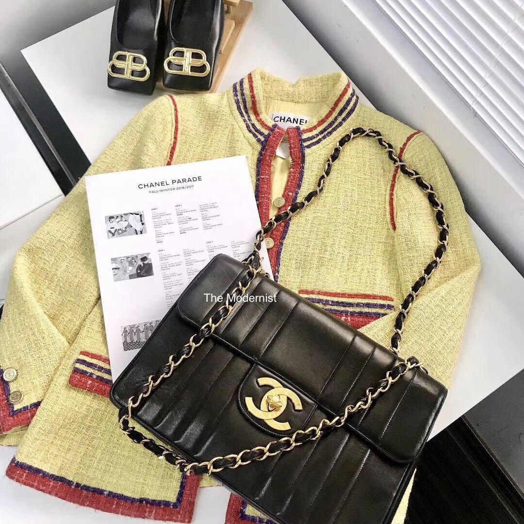 Authentic Vintage Chanel Vertical Jumbo Flap Black Lambskin Gold Hardware