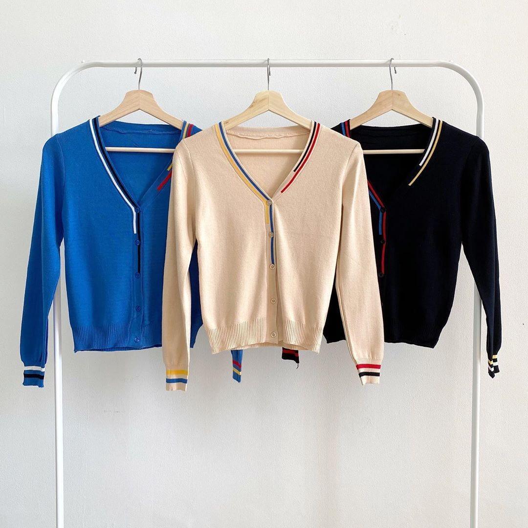 B3371 Two Stripes Knit Cardigan rajut impory cardigan import cardigan korea