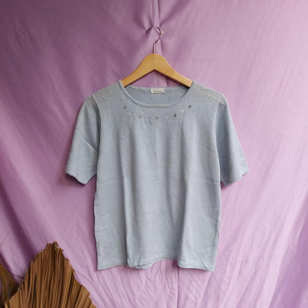 Baby blue knit top knitwear atasan rajut pearl blink