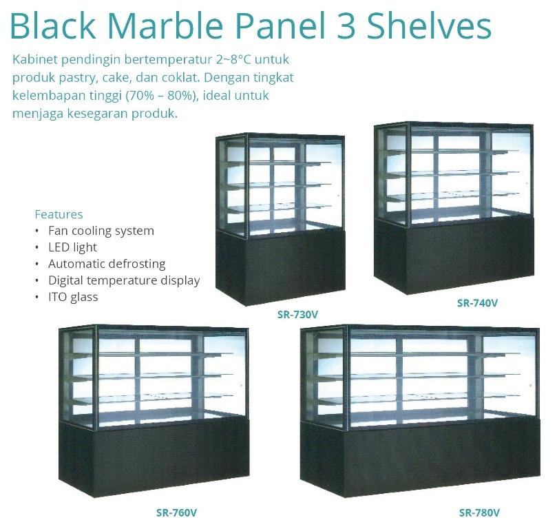BLACK MARBLE PANEL 3 SHELVES(SR-730V)