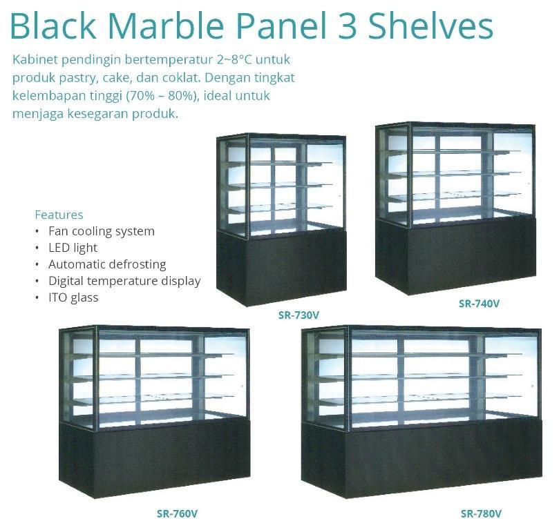 BLACK MARBLE PANEL 3 SHELVES(SR-750V)