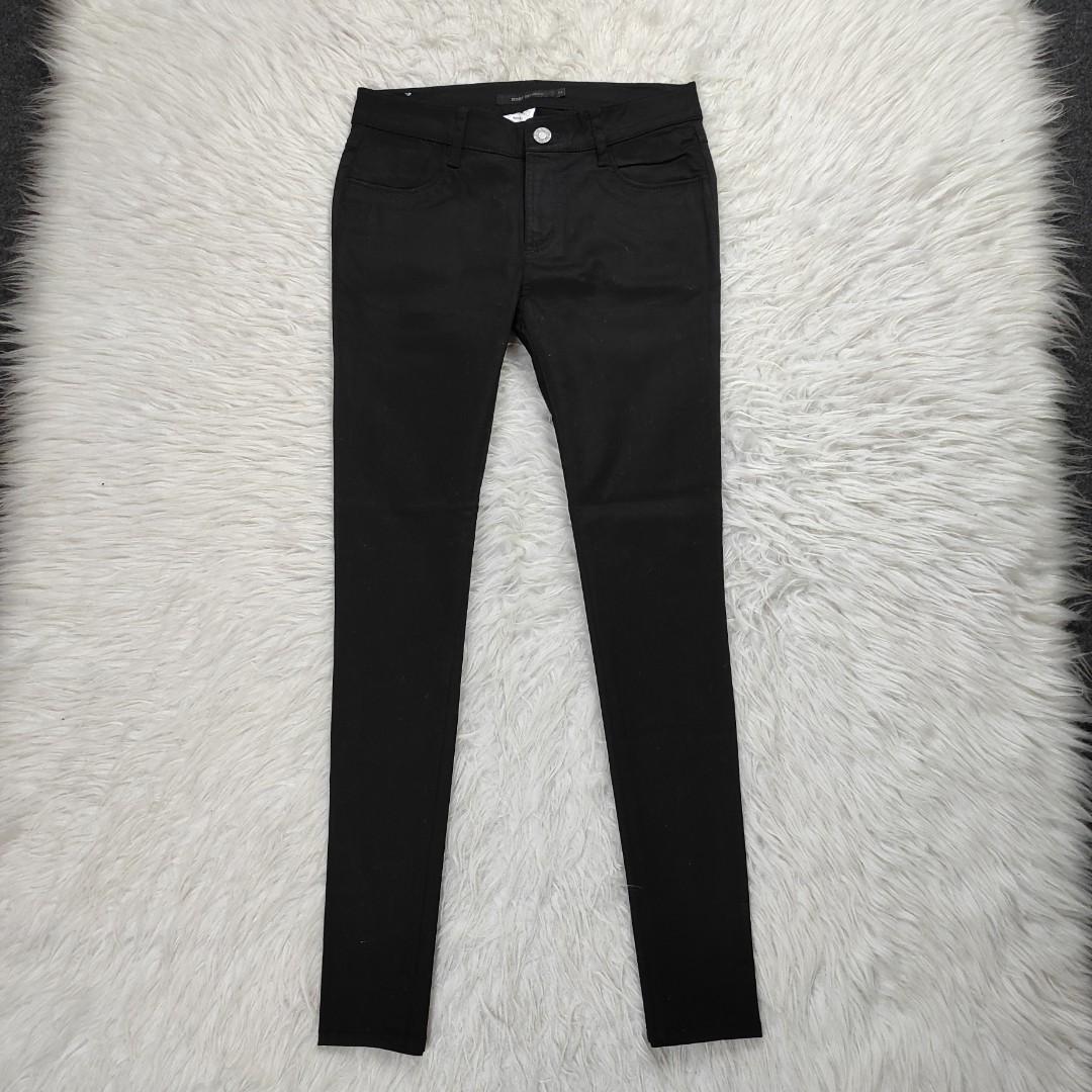 Black pants cotton wanita stretch