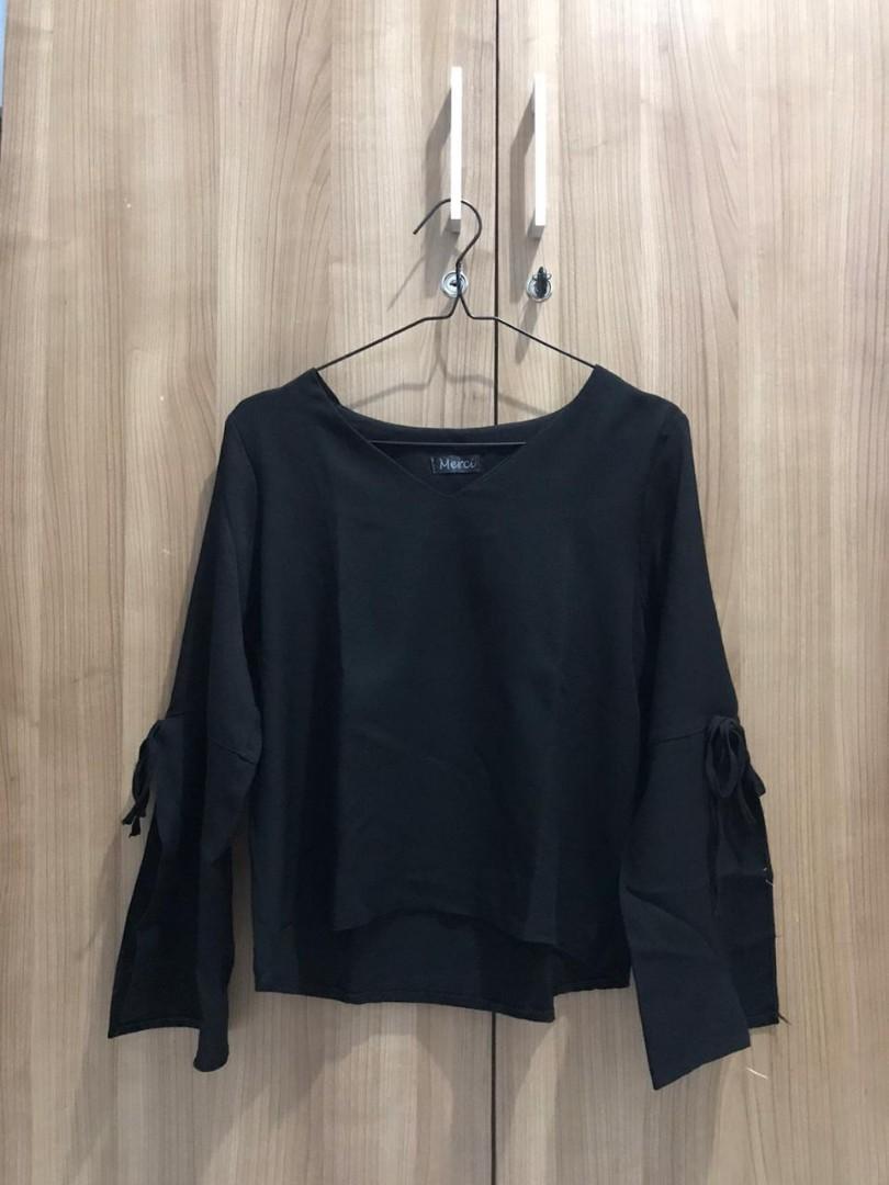 Black Top atasan blouse lengan panjang hitam