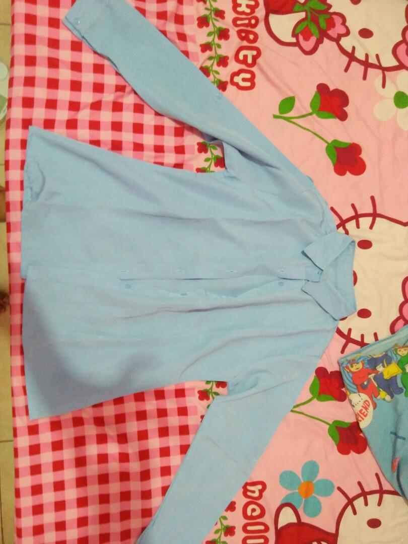 blouse atasan kece biru langit bagus banget