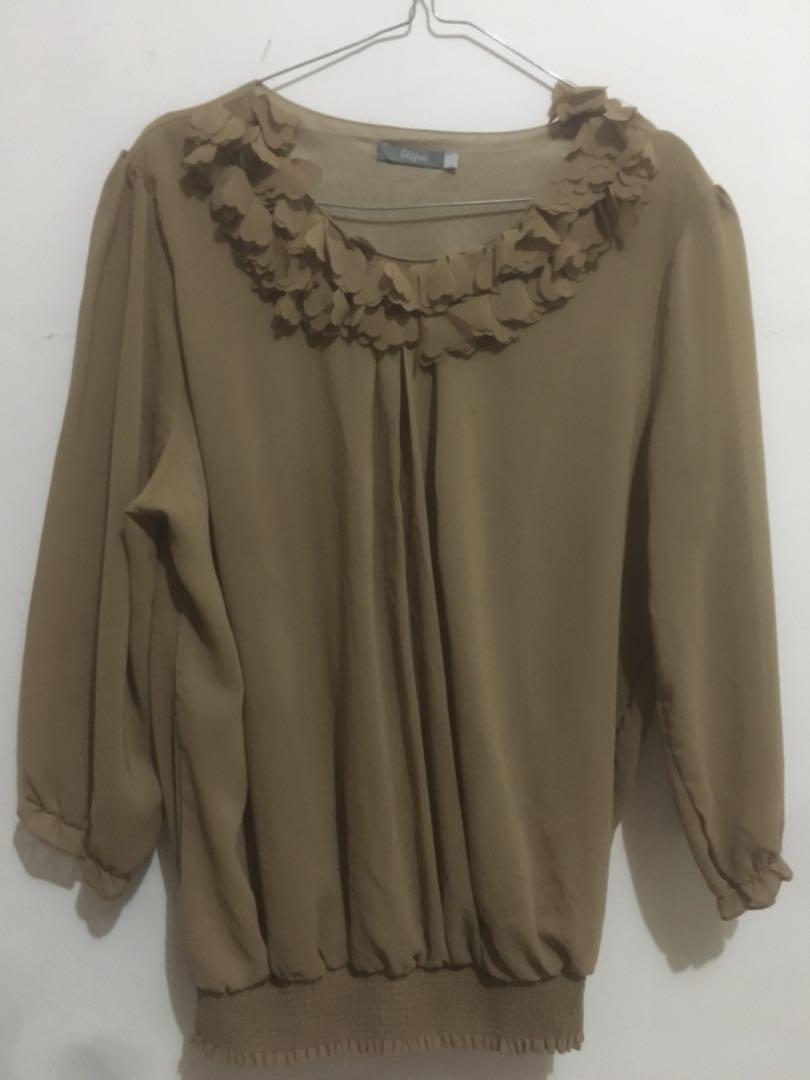 Blouse cream / blouse cokelat / kemeja cokelat / atasan formal / top