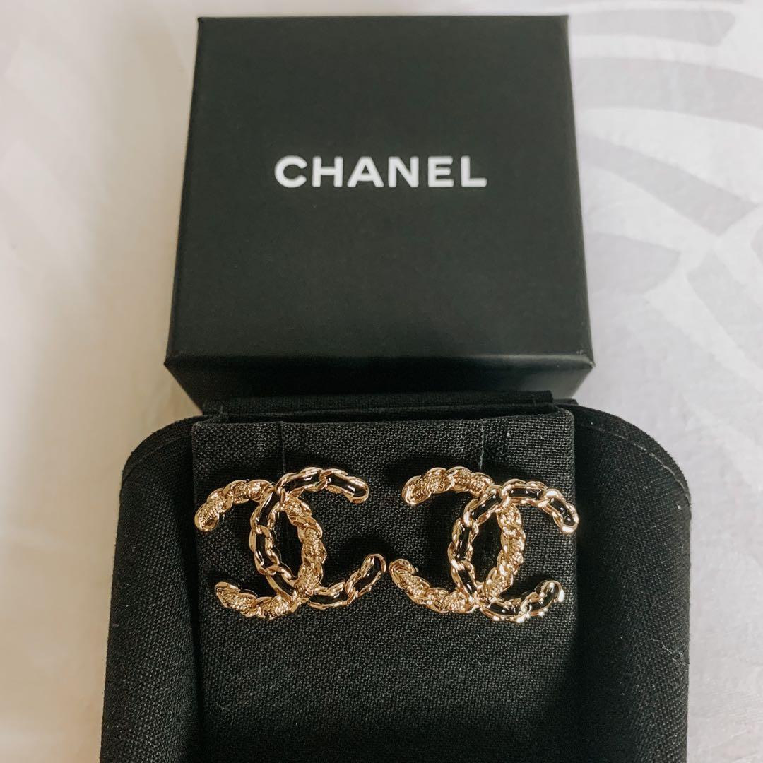 BNIB Chanel Earrings in LGHW interwoven leather