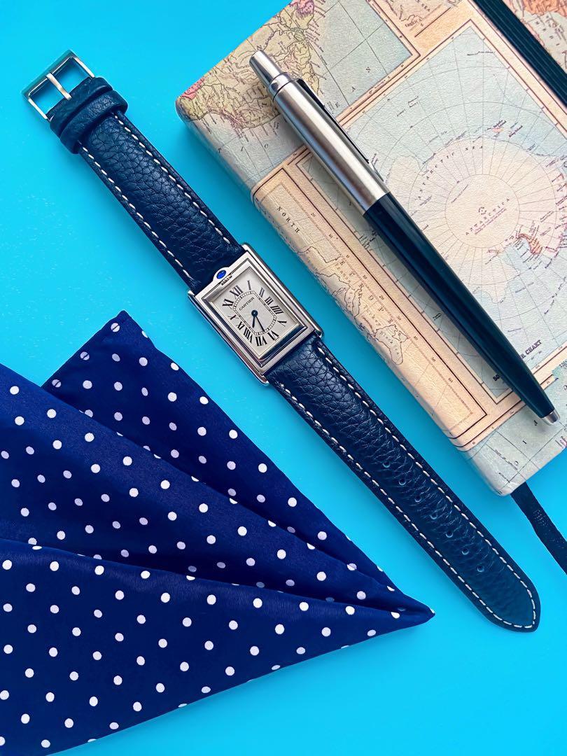 Cartier Tank Basculante 2390 on a Textured Hide Azure Watch Straps