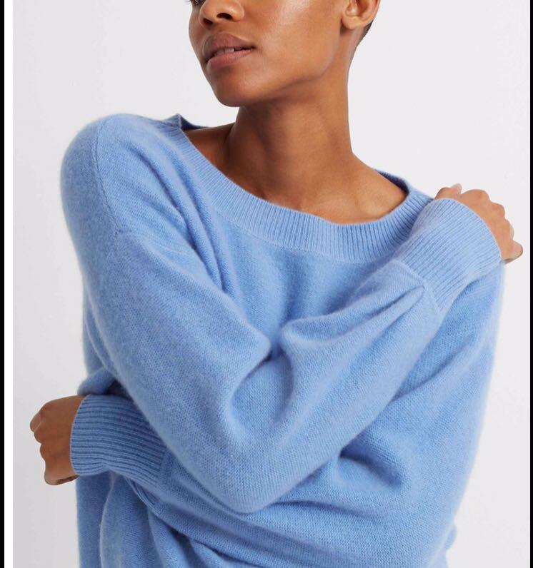 Cashmere Crew Sweater (XS-Blue)