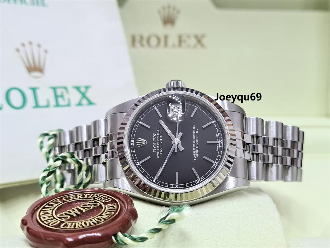 (CERT/BOX) ROLEX DATEJUST Boy 31mm Black Baton/Roman 78274 No pinhole!
