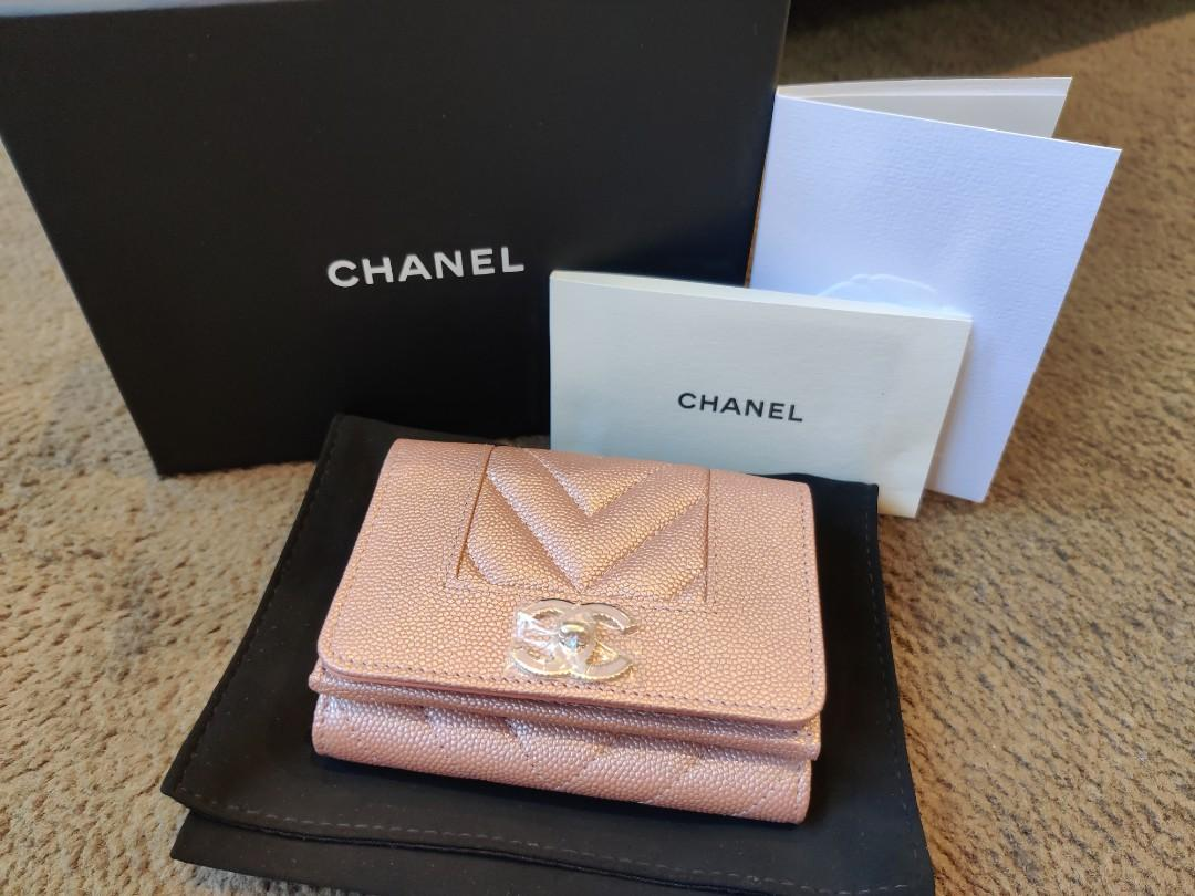 Chanel 19P mademoiselle iridescent rose gold caviar compact wallet