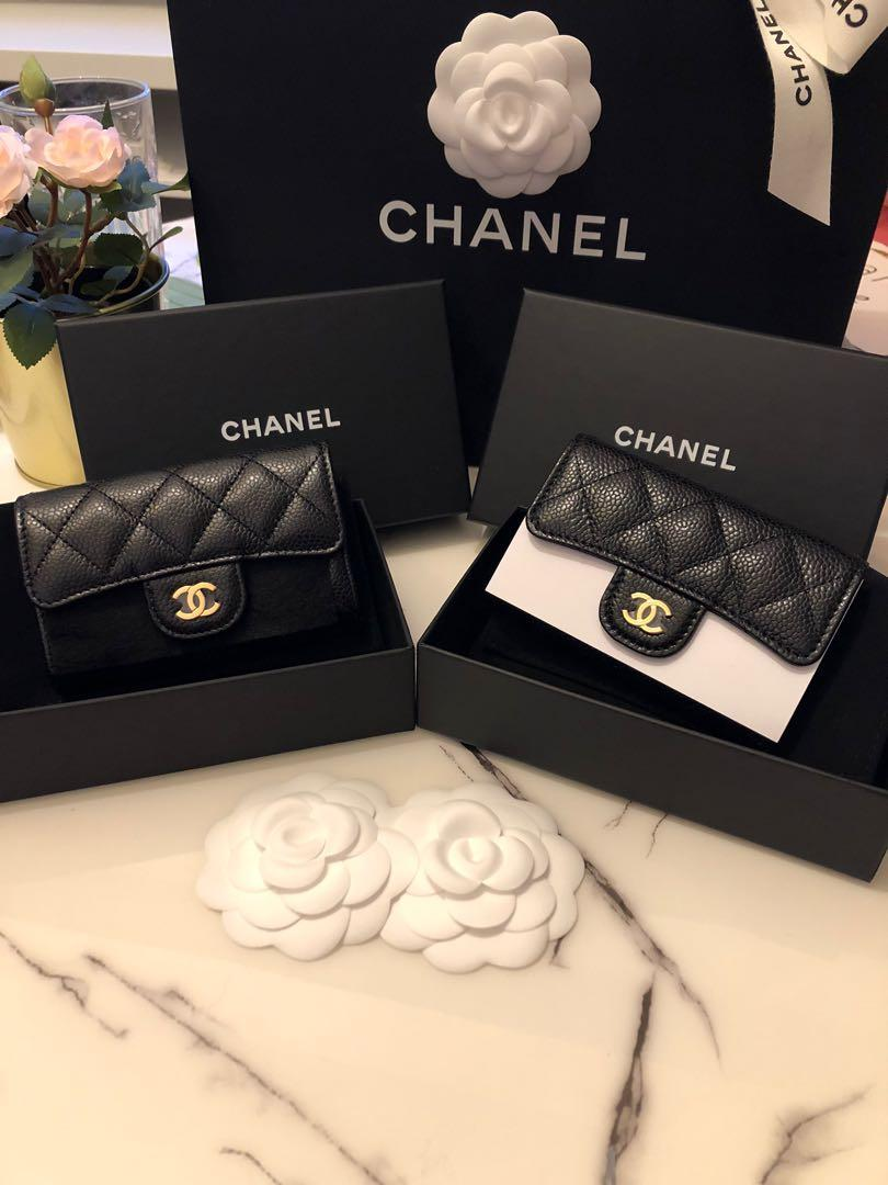 Chanel card holder black caviar gold hardware with back pocket