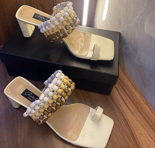 CNK LEATHER BEADED HEELED SANDALS FOR SALE ✅
