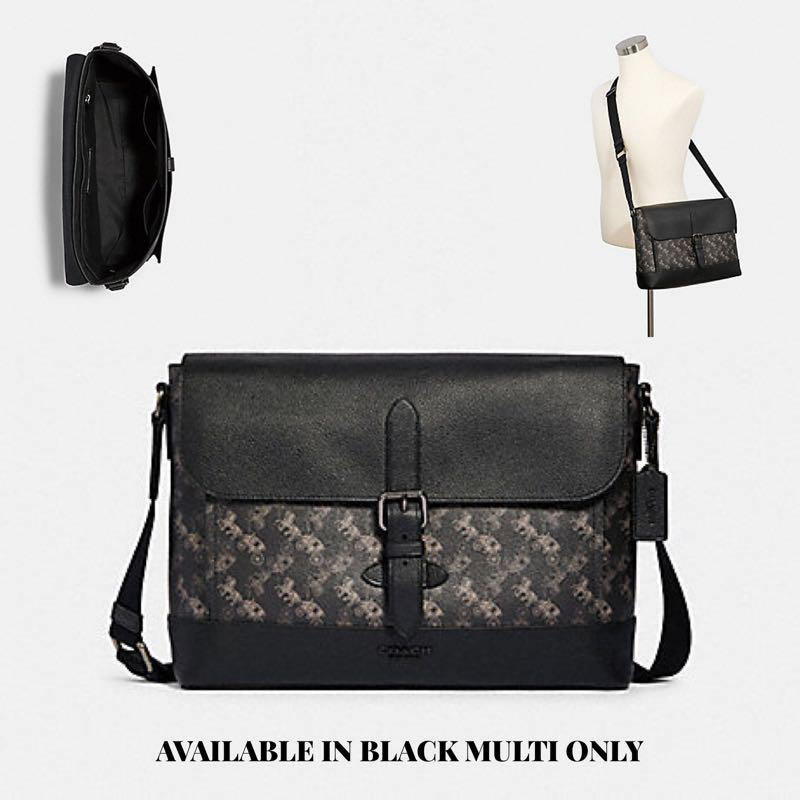 COACH Hudson Messenger With Horse And Carriage Print F89955 Black Multi Bag