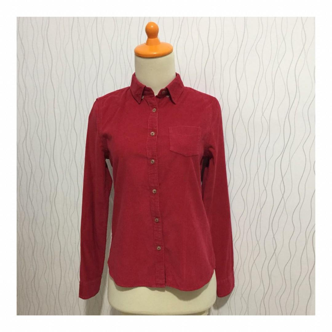 Corduroy Red Shirts | Kemeja Kodoray Merah