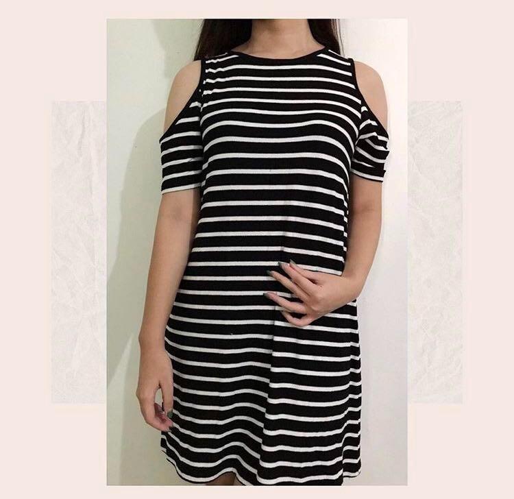 Cotton on stripe off shoulder dress