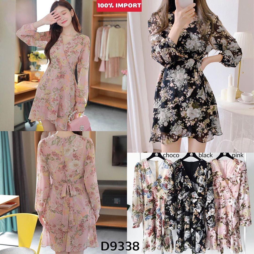 D9338 Princess Claire Floral Dress kimono dress vintage dress pantai dress motif import dress import dress floral dress vneck dress lengan panjang dress korea import