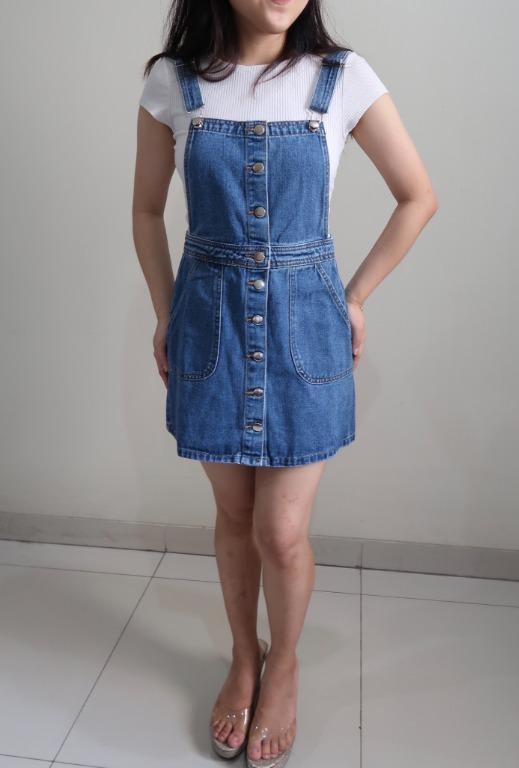 Denim Suspender Skirts Rompers/ Rok Jeans Kodok