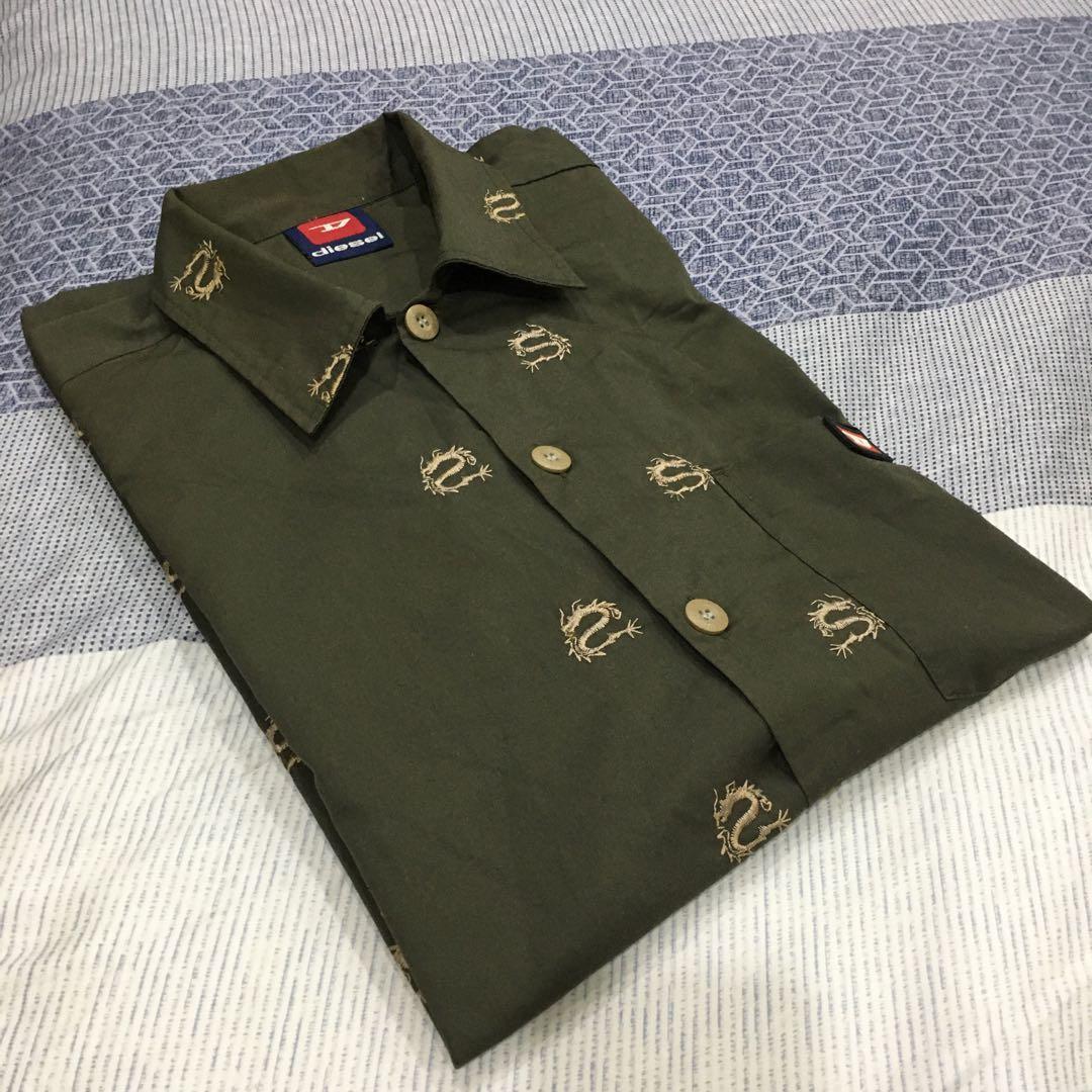 Diesel 短袖襯衫 橄欖綠 刺繡龍紋 XL 泰國