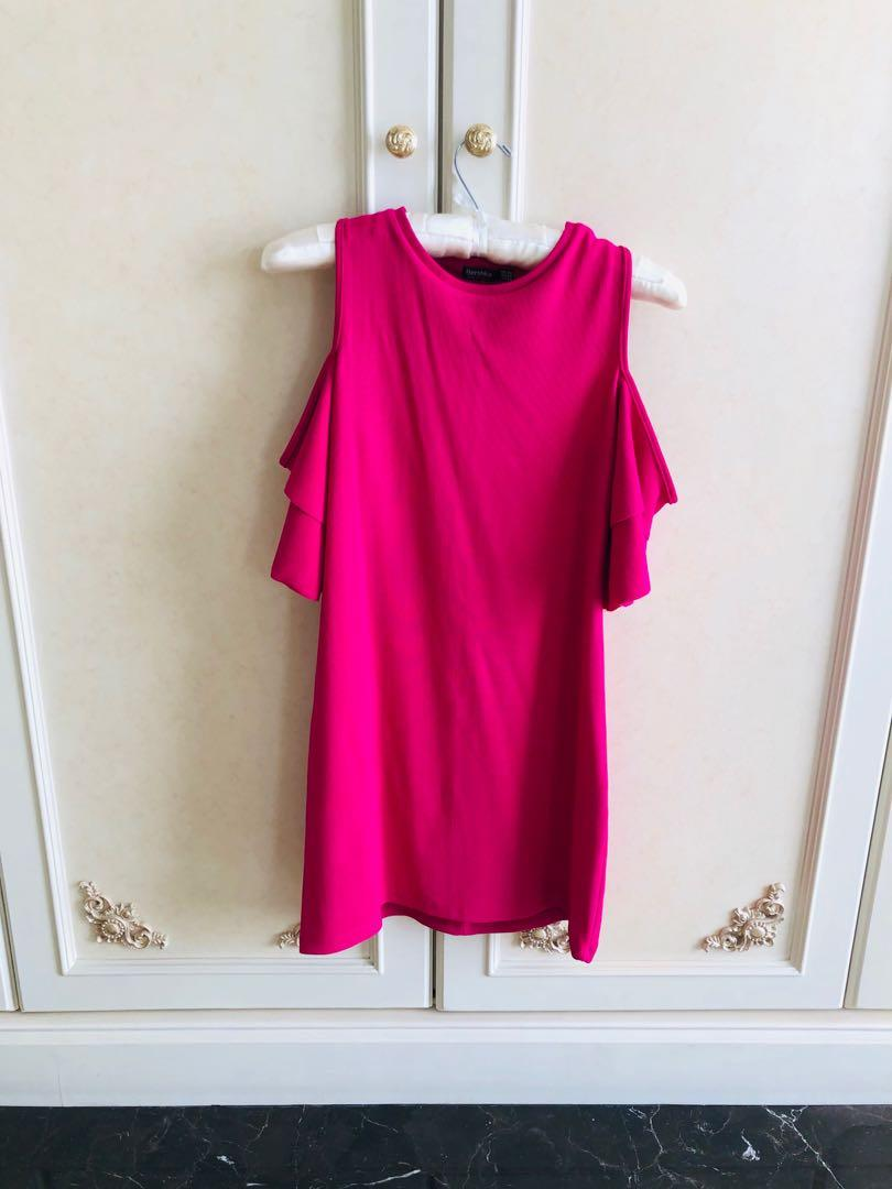 DQD002 BERSHKA Cutout Bell Sleeves Dress XS - Fuschia