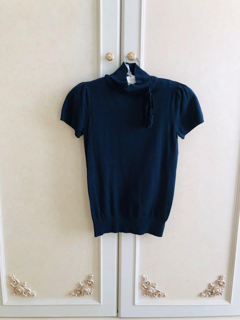 DQT003 MANGO Short Turtleneck Top XS - Navy Blue