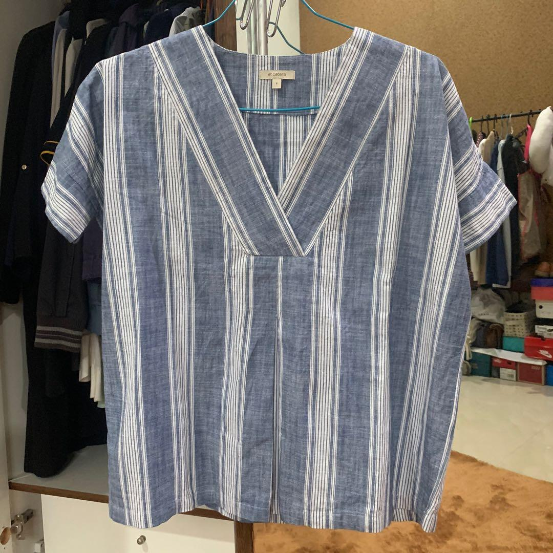 Et Cetera Blue Stripes Blouse