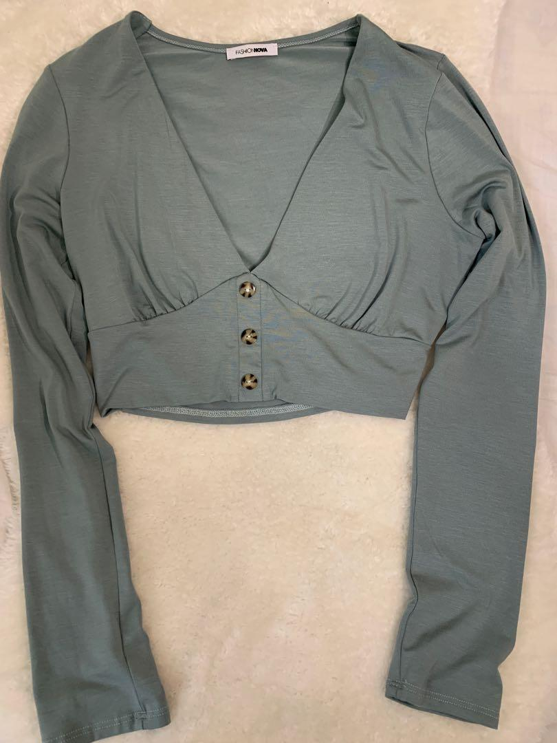 fashion nova teal long sleeve crop top