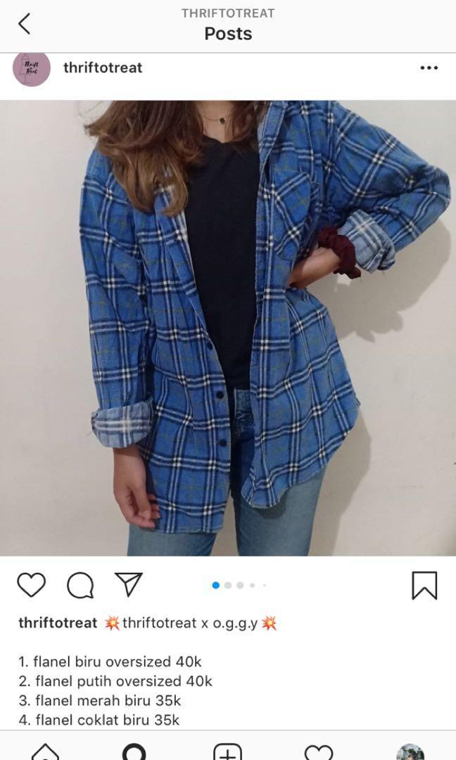 Flanel oversized blue