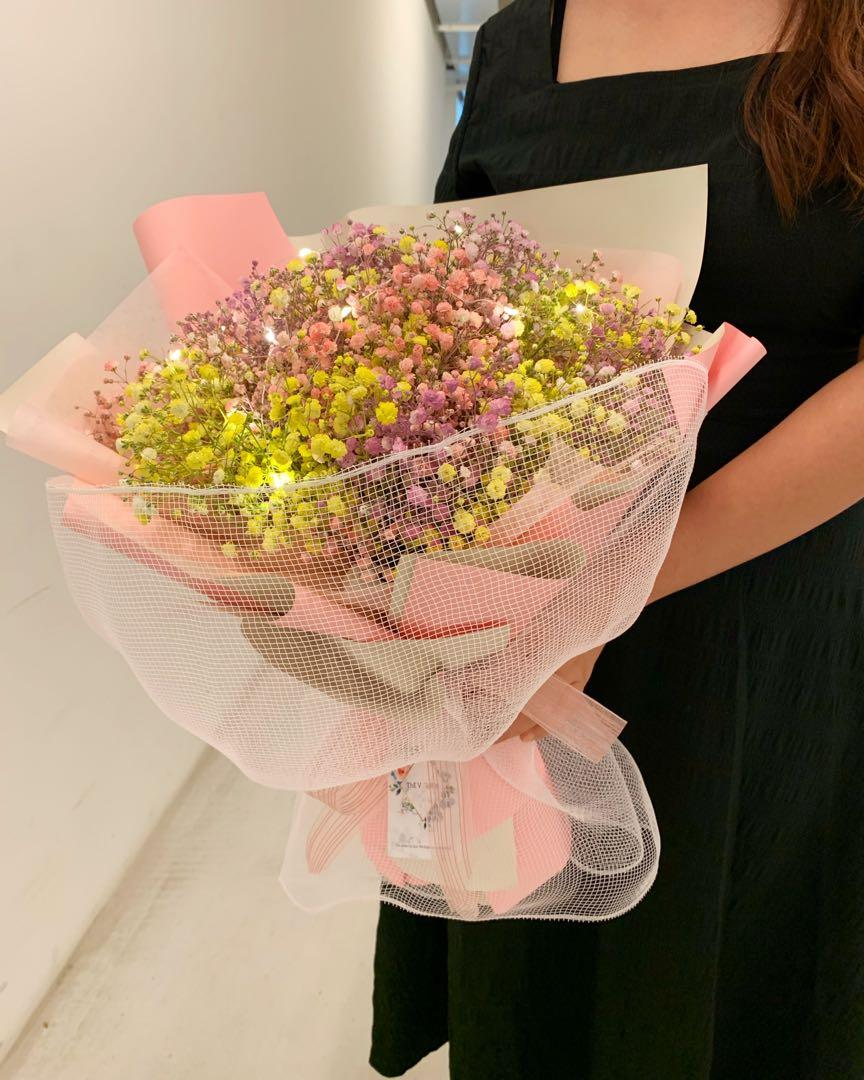 [free delivery] rainbow baby's breath bouquet