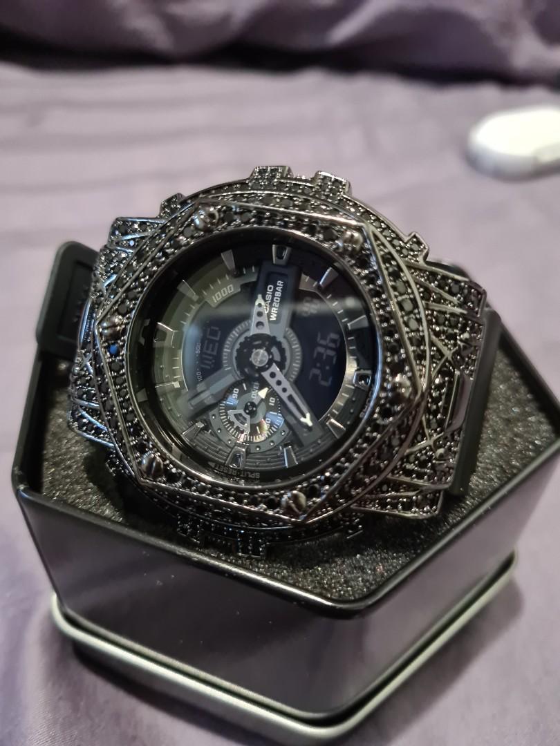 G Shock Black hexis with swarovski crystals
