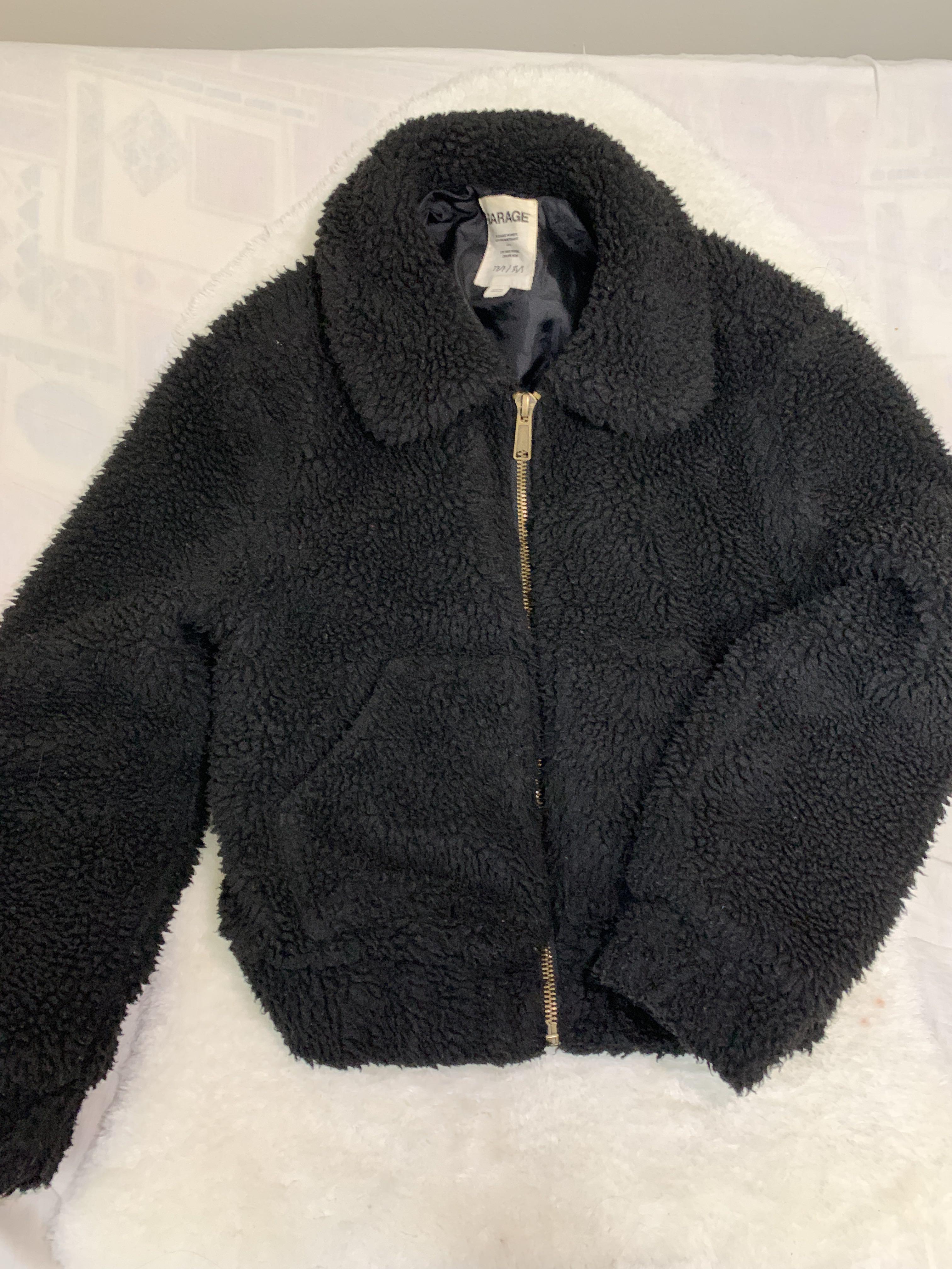 Garage Black Sherpa Fur Jacket