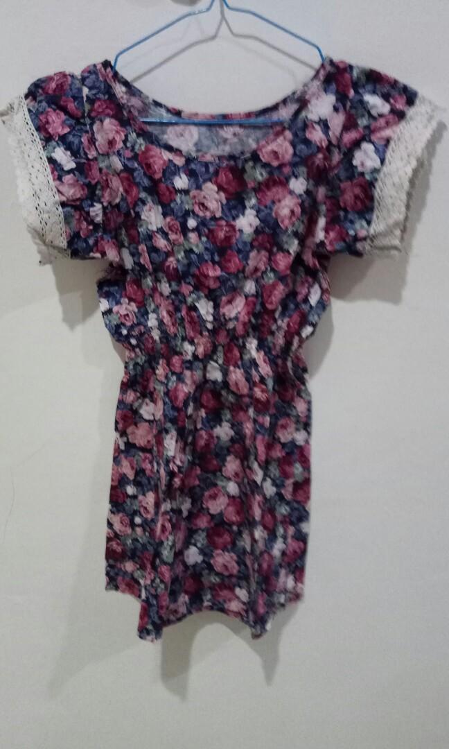 Gaun wanita floral bunga dress