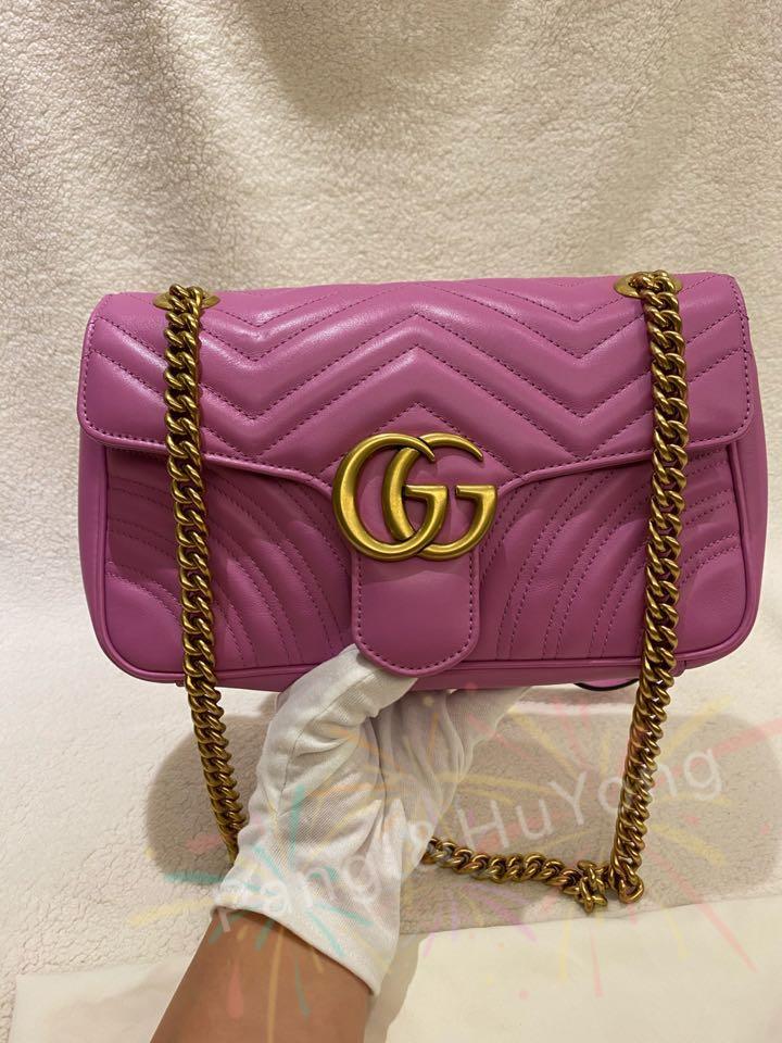 Gucci Marmont復古銅金鍊稀有亮粉色包
