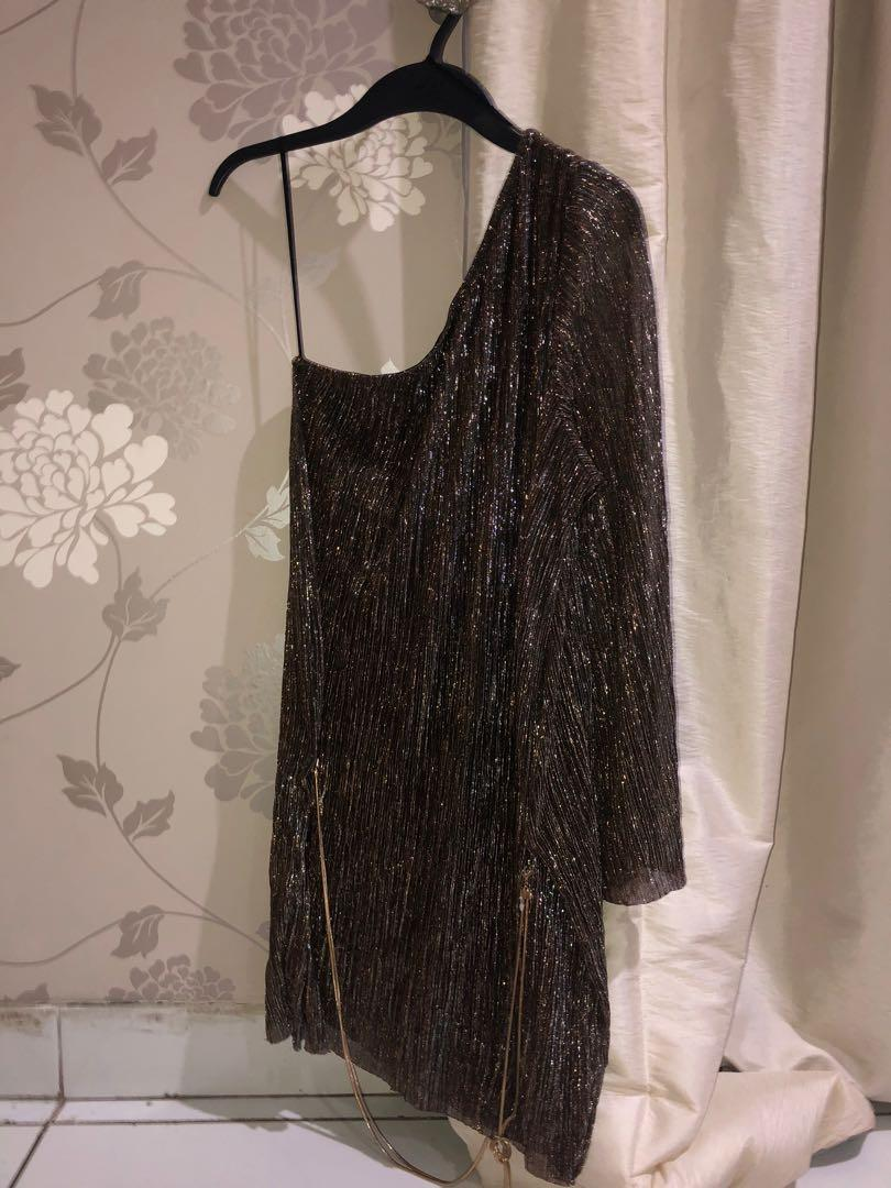 H&M Glittery One Shoulder Dress