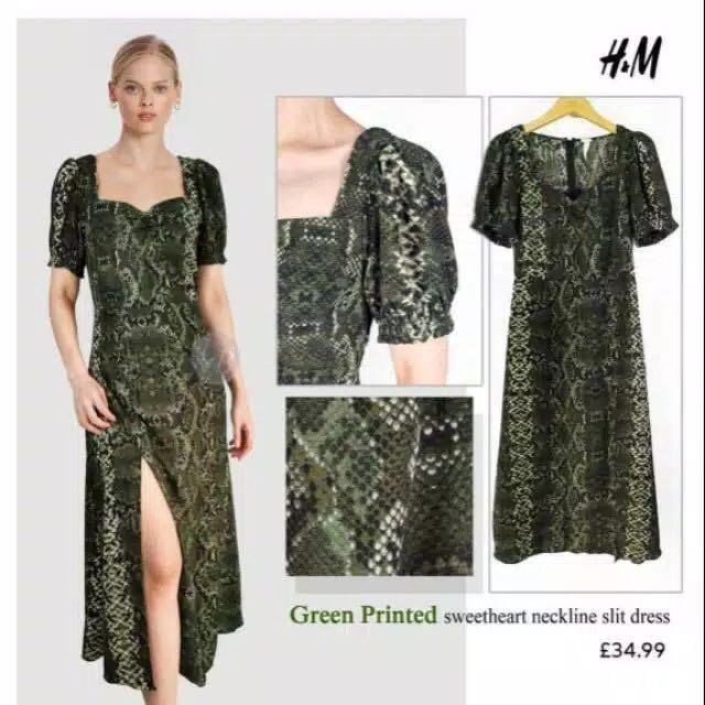 HnM H&M Dress Snakeskin Midi Slit Dress