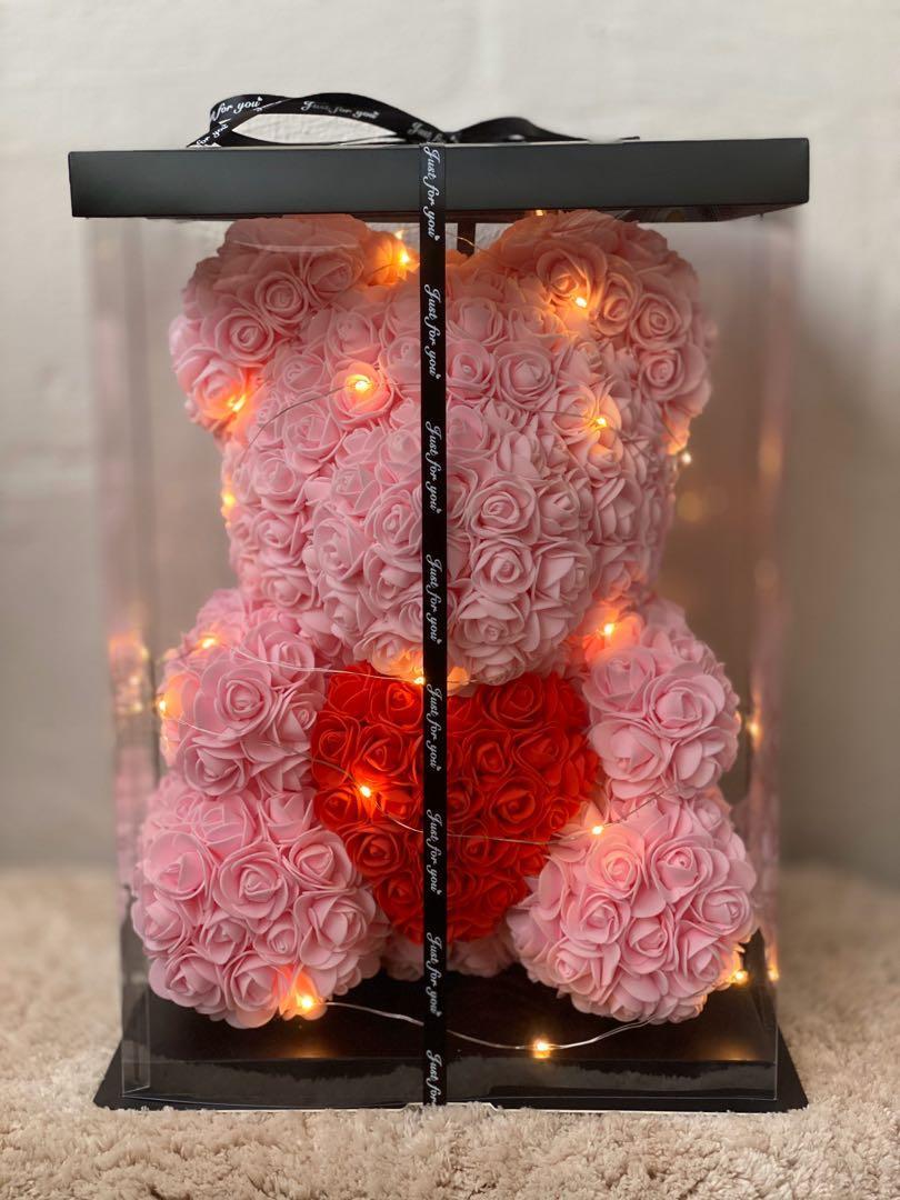 <INSTOCK> 40cm Baby Pink Rose Bear with ❤️ Anniversary Birthday