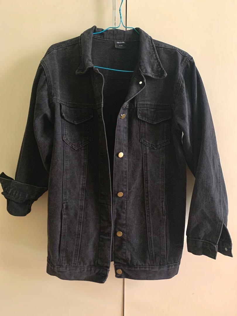 JAKET DENIM BLACK OVERSIZE