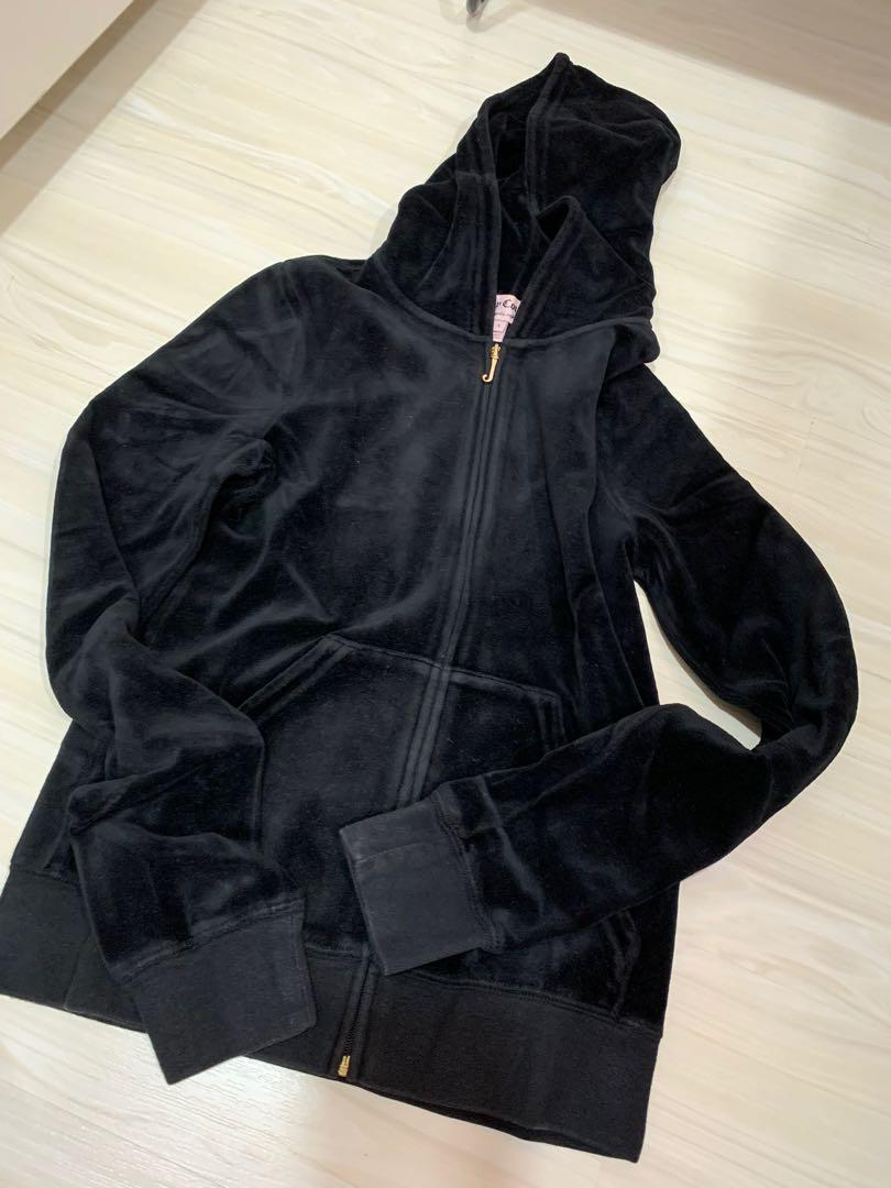 JUICY COUTURE velvet tracksuit hoodie jacket in black jaket beludru hitam
