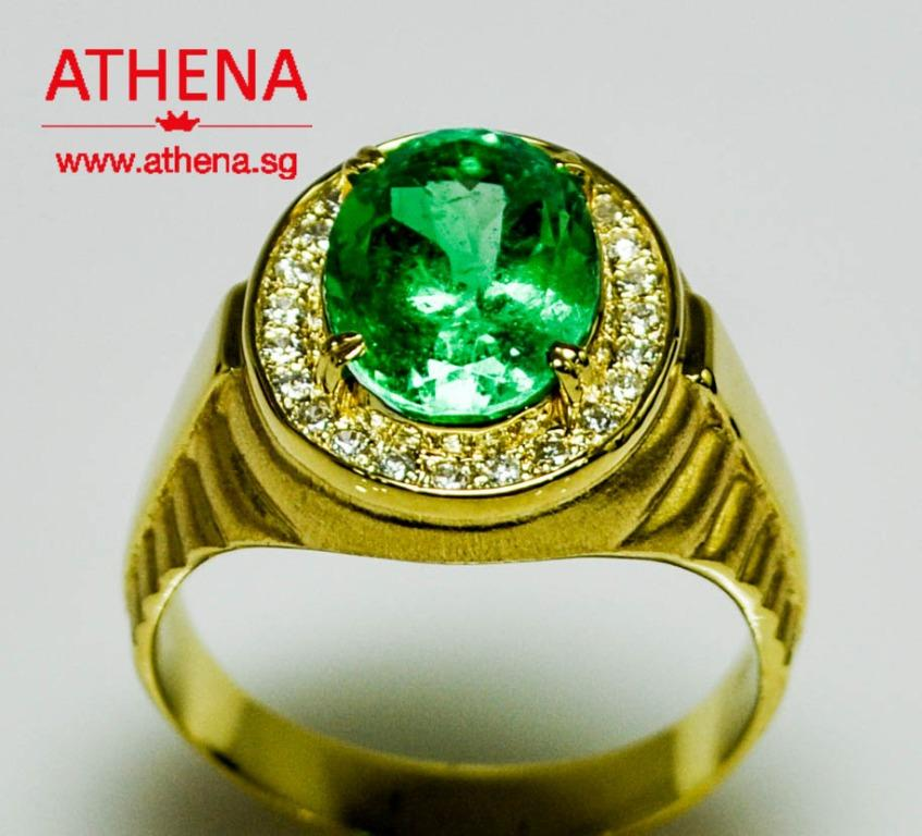 JW_SR_1674 JEWELLERY 18K YG NATURAL EMERALD ( FROM COLOMBIA ) RING WITH DIAMOND D24-0.24CTS 12.03G ( SIZE 26 ) [ CERT. ]