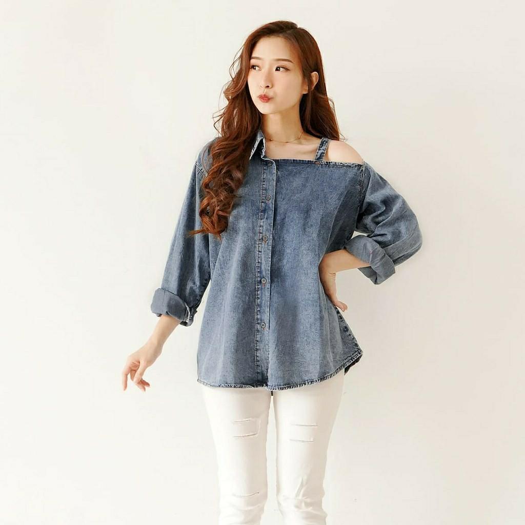 Kemeja Jeans Long Sleeve Adeline 5385 AF