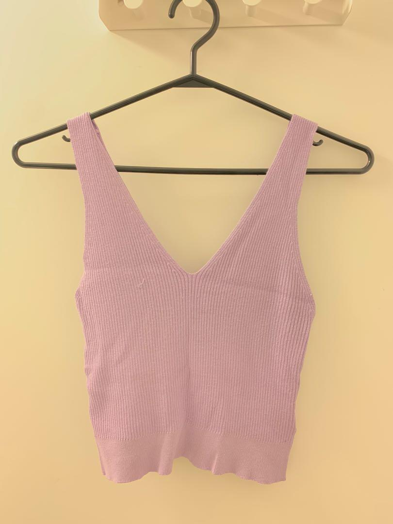 Lavender knit crop top size medium