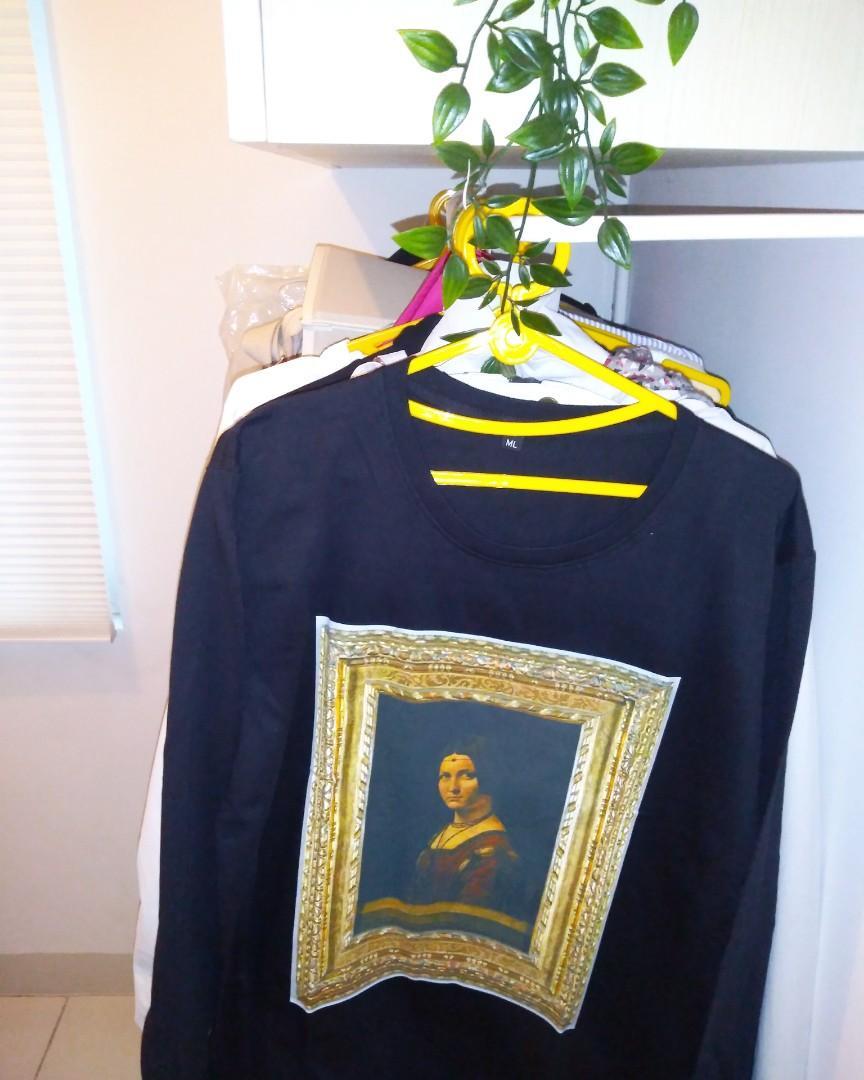 Leonardo Da Vinci - La Belle Ferronniere. Full painting long sleeve tshirt