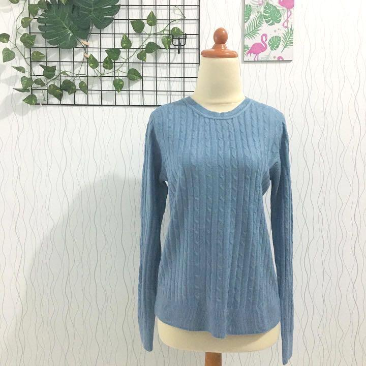 Like New Cable Knit Blue Pastel Rajut Kepang Sweater Top Knitwear #Carousell99