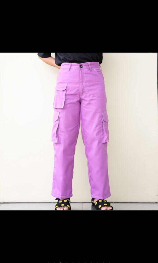 lilac purple highwaist cargo pants(fix price)