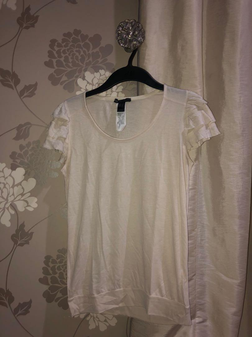 Mango White Frilly Top